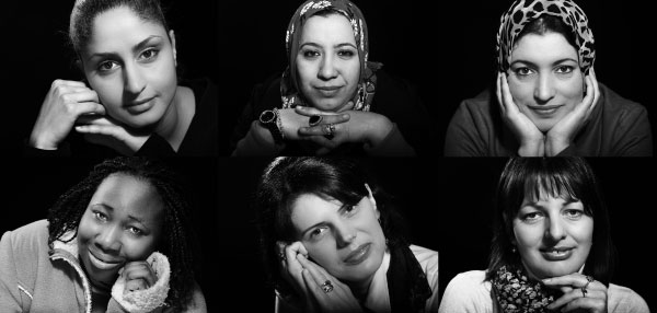 (Clockwise from top left) Asmaa Kabroussi, Hasna Jdir and Jamila El Qous from Morocco; Branka Elcic and Dana Pantic from Bosnia and Herzegovina and Abena Appiah from Ghana. Photographs by John Kelly