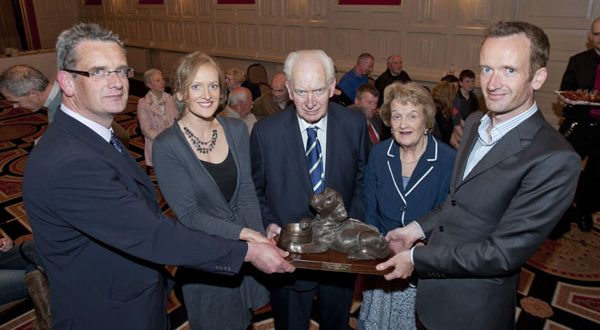 PJ and Enda O'Driscoll with their children, Barry, Miriam and Sean, during the ISPCA presentation night at the Temple Gate Hotel. PJ was presented with an award for his lifetime contribution to the Clare SPCA. Photograph by Declan Monaghan