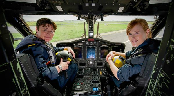 The first female search and rescue crew of Capt Dara Fitzpatrick and Capt Carmel Kirby at the Shannon base. Photograph by Chris Copley