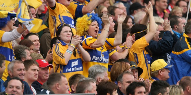 Clare fans celebrate another point at Croke Park.