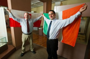 John Rattigan of the Clare Museum with Jakub Kacperzak at the launch of the Festival of Poland which runs from September 20 to October 12 at the Clare Museum. Photograph by John Kelly