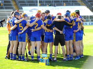 Paul Kinnerk talks tobthe Clare team before the  All-Ireland U-21 hurling final at Thurles. Photograph by John Kelly