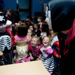 Count Dracula greeted the Ennis National School Senior Infants when they visited The Clare Champion Offices in Barrack Street during the annual Ennis National School Hallowe'en Hobble