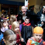 Count Dracula aka John Galvin,The Clare Champion MD, greeted the Ennis National School Senior Infants when they visited The Clare Champion Offices in Barrack Street during the annual Ennis National School Hallowe'en Hobble