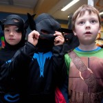 James Brohan, Joseph Bartoz and Shane Corry, Ennis National School Junior Infants ,when they visited The Clare Champion Offices in Barrack Street during the annual Ennis National School Hallowe'en Hobble