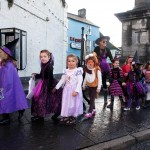Senior Infants make their way through the square during the annual Ennis National School Hallowe'en Hobble