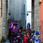 Ennis National School teacher Ciara Stack leads the way during the annual Ennis National School Hallowe'en Hobble