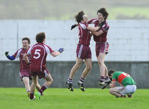 Lissycasey players celebrate at the final whistle after beating Kilmurry Ibrickane during their Minor Division One county football final at Cooraclare. Photograph by John Kelly.