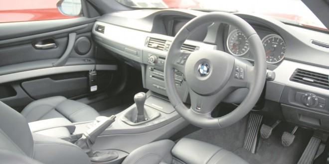 An interior view of the BMW M3.