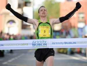 Sean Hehir on his way to winning the men's race in the Airtricity Dublin Marathon in a time of 2:18:19.Picture Stephen McCarthy / SPORTSFILE