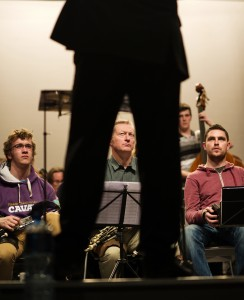 Musicians Fergal Breen, Mick O Brien and Jack Talty  keep their eyes on conductor Bjorn Bantock during rehearsals for the Clare Memory Orchestra's production of The Clare Concerto which is on in Glor on November 8. Photograph by John Kelly.