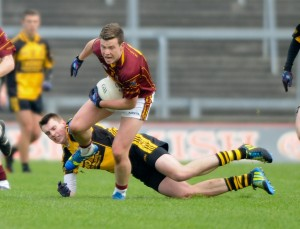 Darragh Mc Donagh of Miltown in action against Daniel O Callaghan of Clyda Rovers during their Intermediate Club Munster Final at The Gaelic Grounds. Photograph by John Kelly.