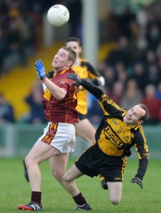 Joe Curtin of Miltown in action against Niall O Mullane of Clyda Rovers during their Intermediate Club Munster Final at The Gaelic Grounds. Photograph by John Kelly.