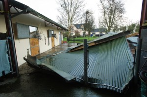 A view of the storm damage when the roof of two stables and a tack room blew off at Manusmore Clarecastle. Photograph  by John Kelly.