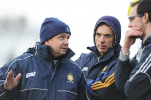 Clare manager Davy Fitzgerald with selectors Louis Mulqueen and Paul Kinnerk on the sideline during the Waterford Crystal quarter final against Limerick at Sixmilebridge. Photograph by John Kelly.