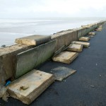 Damage to the seawall at Lahinch promenade. Photograph by John Kelly.
