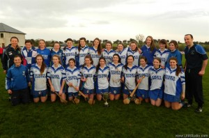 St Flannan's senior panel after winning the Munster Senior A Championship, with mentors Clare Ryan, Laura Linnane and James Delaney