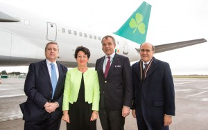 Deputy Pat Breen, chairman of the Joint Oireachtas Committee on Foreign Affairs and Trade; Rose Hynes, chairperson Shannon Airport Authority;  Christoph Mueller, CEO Aer Lingus and Hugh Flynn, CEO ASL Aviation Group.