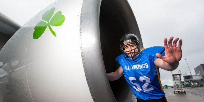 Dylan Quigley, The Vikings Amercian Football team on hand to help launch the Shannon Boston Aer Lingus daily flights.