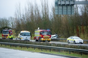 The scene at Newmarket On Fergus on the North bound lane of the M18 on Thursday morning when five cars crashed in separate incidents, within ten minutes. Photograph by John Kelly.