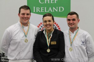 David Wallace, Tracy Deane and Peter Searle wearing their Chef Ireland competition medals.