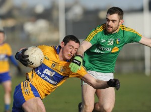 Cathal O Connor of Clare in action against Shane Moran of Leitrim during their Round 2 Division 4 national Football League game at Miltown Malbay. Photograph by John Kelly.