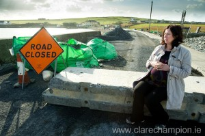 Yvonne McNamara, who is expecting a baby at the end of the month, is concerned over Clare County Council's decision to close an 80m stretch of road in the village. Photograph by John Kelly.