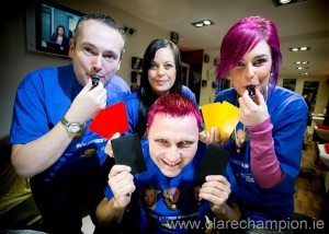 GAA referee Rory Hickey  at De Barbers with L-R Micheal Malone, Karen Greer and Sarah McCarthy. Photograph by Arthur Ellis.
