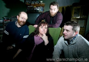 Noel Hogan as PJ, Fergus Dermody as Eamonn, Shane Kelly as Wan Word and Ruth McMahon as Mary during Sliabh Aughty Drama Groups rehearsal of Unforgiven in Mountshannon. Photograph by Arthur Ellis.