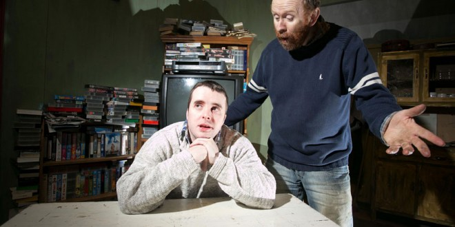 Shane Kelly as Wan Word and Noel Hogan as PJ, during Sliabh Aughty Drama Group's rehearsal of Unforgiven in Mountshannon on Saturday.