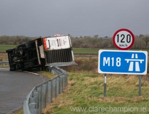 A truck that was overturned in windy conditions. Photograph by Arthur Ellis