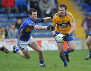 Paul Codd of Tipperary in action against David Tubridy of Clare during their National League game at Thurles. Photograph by John Kelly.