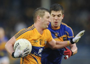 Enda Coughlan of Clare in action against Robbie Kiely of Tipperary during the National League game at Thurles. Photograph by John Kelly.