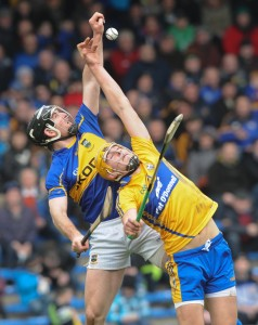 Conor O Mahoney of Tipperary in action against Peter Duggan of Clare during their National League game at Thurles. Photograph by John Kelly.