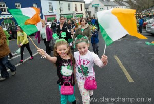 Rachel Harty and Celine Connors having fun at Sixmilebridge. Photograph by John Kelly.