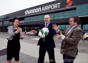 Shannon Airport Authority chairman, Rose Hynes, pictured with Keith Wood and David Fitzgerald.  Photograph by Kieran Clancy