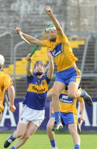 Aaron Shanagher of Clare in action against Conor Ryan of Tipperary during their Munster Minor Championship game at Cusack Park. Photograph by John Kelly.