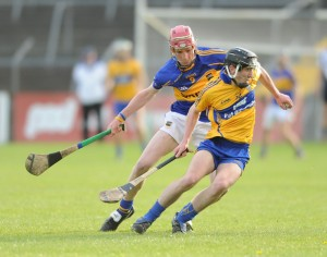 Ian Galvin of Clare in action against Billy Mc Carthy of Tipperary during their Munster Minor Championship game at Cusack Park. Photograph by John Kelly.