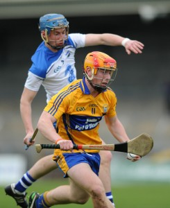 Michael O Shea of Clare in action against Conor Gleeson of Waterford during their Munster Minor hurling Championship game at Cusack park. Photograph by John Kelly.