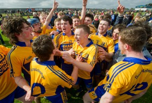 Sixmilebridge players celebrate together on the pitch following the win over Ballyea in the U-21 championship final at Clarecastle. Photograph by John Kelly