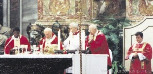Fr Brendan Quinlivan serving mass with Pope John Paul II