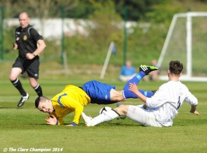 Eoin Hayes of Clare League in action against Conor Dillon of AUL Dublin during the Oscar Traynor Trophy Final at AUL Complex, Clonshaugh, Dublin. Photograph by John Kelly.