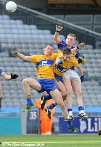 Shane Hickey and Gordon Kelly of Clare in action against Philip Austin? of Tipperary during the Division 4 League final in Croke Park. Photograph by John Kelly.