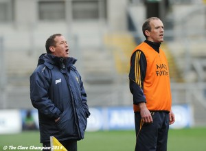 Clare manager Colm Collins and coach Paudie Kissane on the sideline during the Division 4 League final against Tipperary in Croke Park. Photograph by John Kelly.