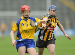 Deirdre Murphy of Clare in action against Ann Dalton of Kilkenny during their Division 1 National League Camogie Final in Thurles. Photograph by John Kelly.