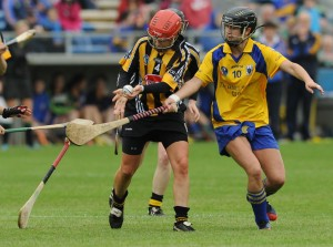 Jacqui Frisby of Kilkenny in action against Niki Kaiser of Clare during their Division 1 National League Camogie Final in Thurles. Photograph by John Kelly.