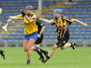 Kate Lynch of Clare in action against Leann Fennelly of Kilkenny during their Division 1 National League Camogie Final in Thurles. Photograph by John Kelly.