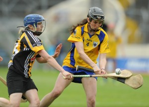 Carol O Leary of Clare in action against Michelle Quilty of Kilkenny during their Division 1 National League Camogie Final in Thurles. Photograph by John Kelly.