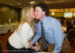 Fine Gael's Johnny Flynn is congratulated by fellow candidate Mary Howard following the announcement of his election during the election count at The West county Hotel, Ennis. Photograph by John Kelly.