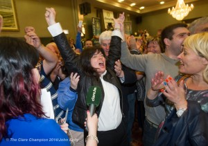 Fianna Fail's Clare Colleran Molloy celebrates with supporters as the result of a recount favouring her is made clear during the election count at The West county Hotel, Ennis. Photograph by John Kelly.